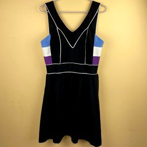 ABAETE Fit and Flare Silk Little Black Dress 10